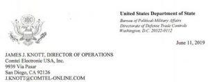 ITAR USA Certificate